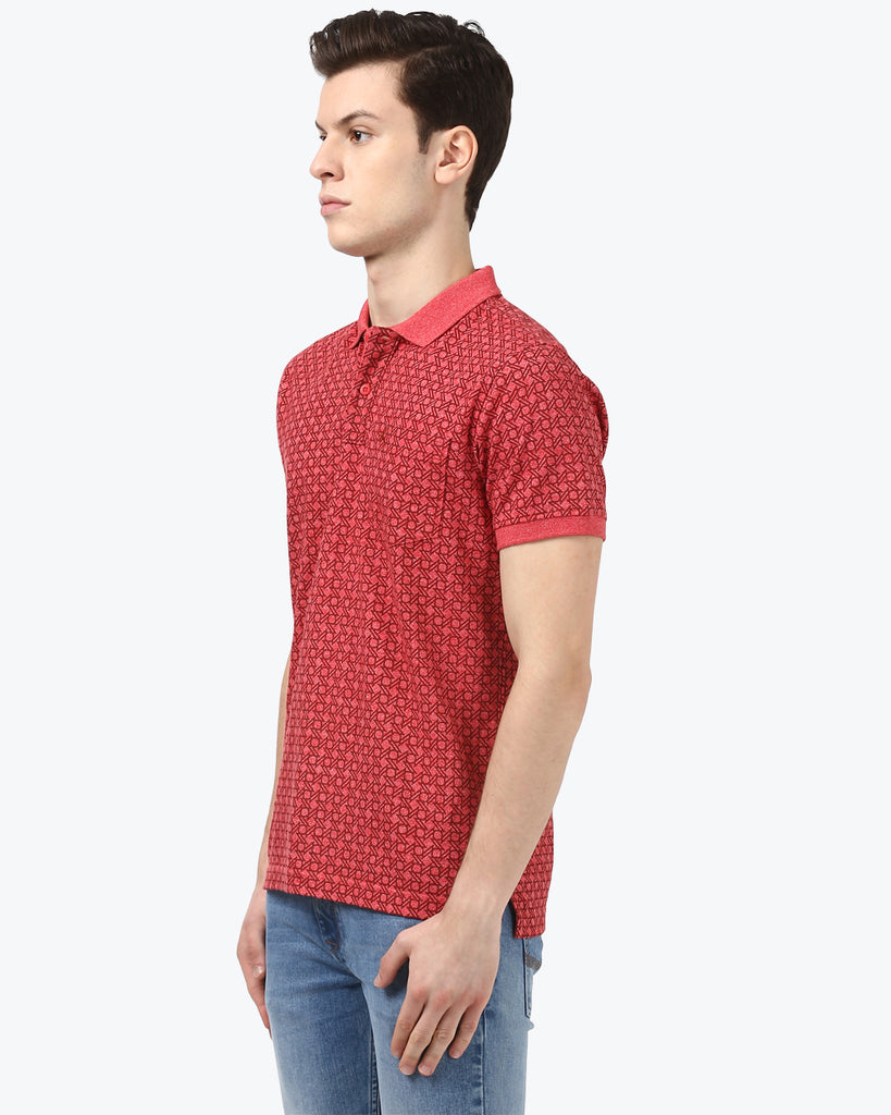 Parx Dark Red Regular Fit T-Shirt