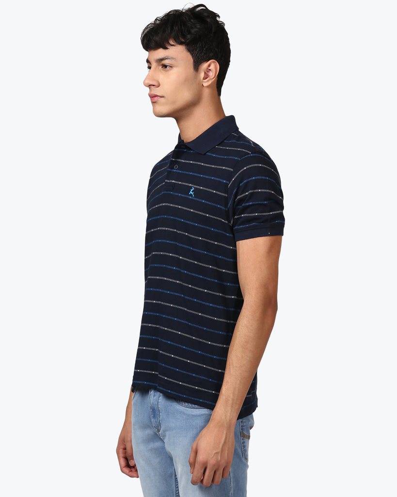 Parx Navy Blue Regular Fit T-Shirt