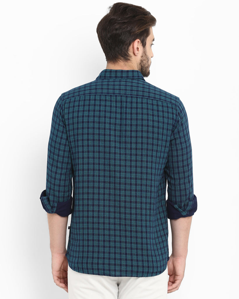 Parx Dark Green Slim Fit Shirt