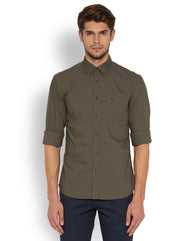 Parx Dark Brown Slim Fit Shirt