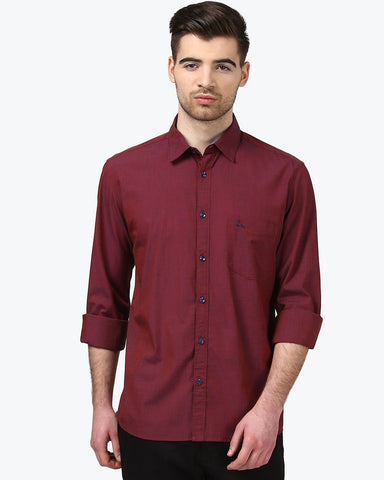 Parx Wine Slim Fit Shirt