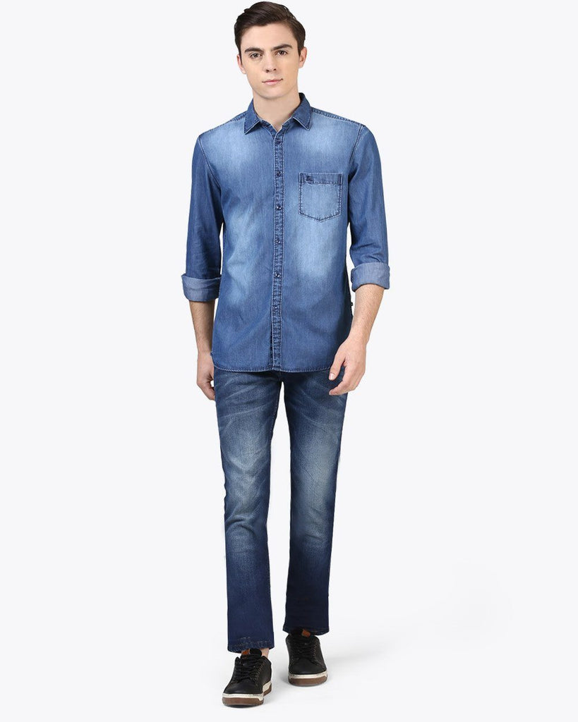 Parx Medium Blue Slim Fit Shirt