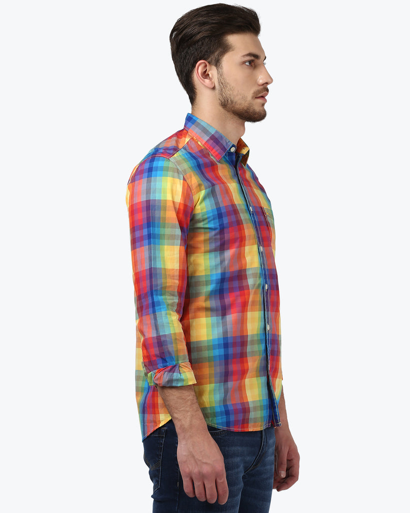 Parx Dark Yellow Slim Fit Shirt