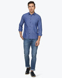 Parx Dark Blue Slim Fit Shirt