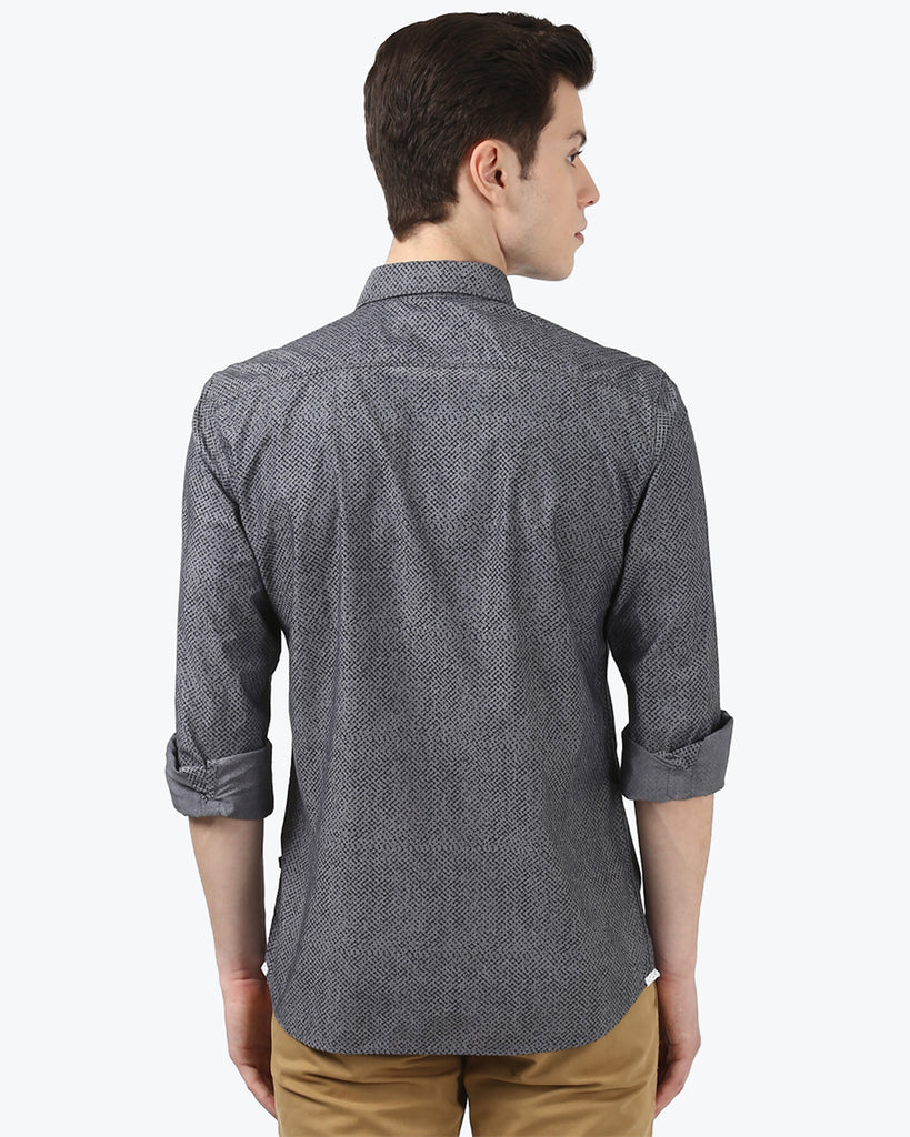 Parx Grey Slim Fit Shirt