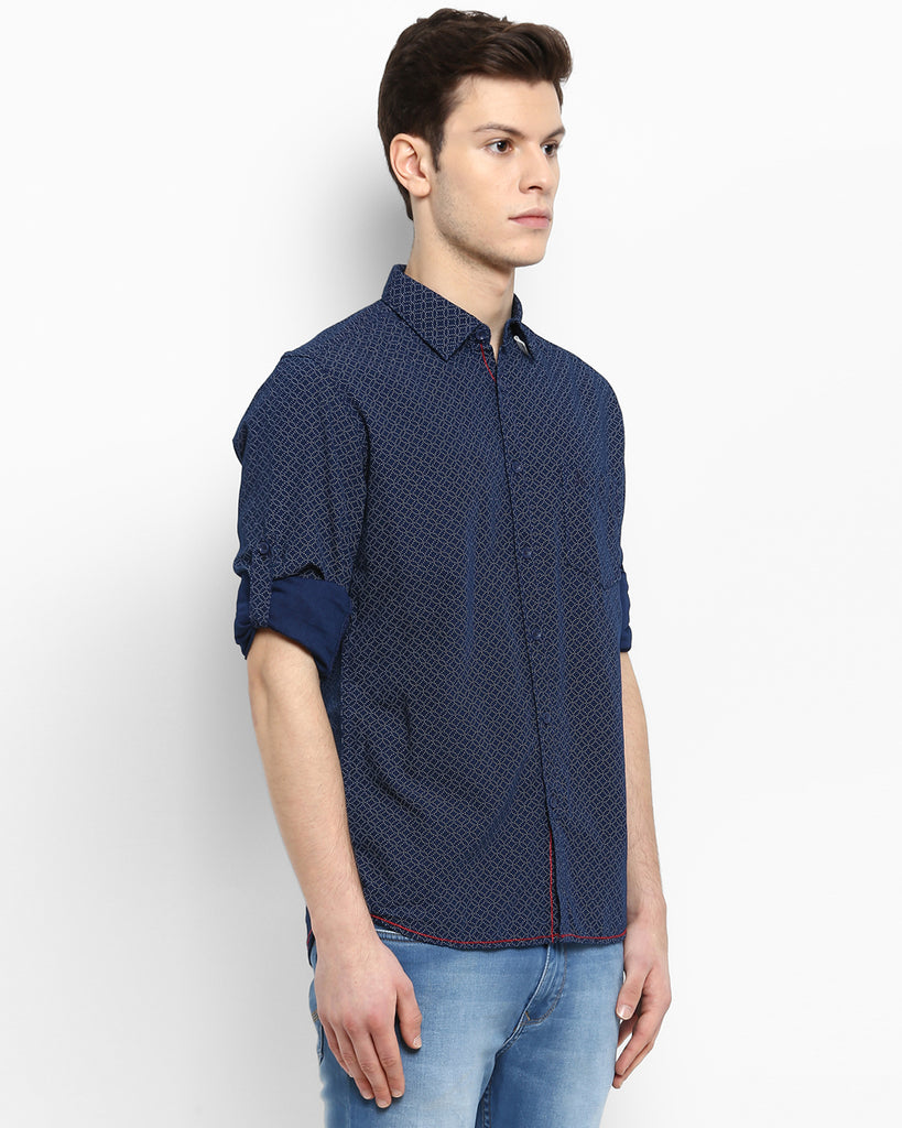 Parx Blue Slim Fit Shirt