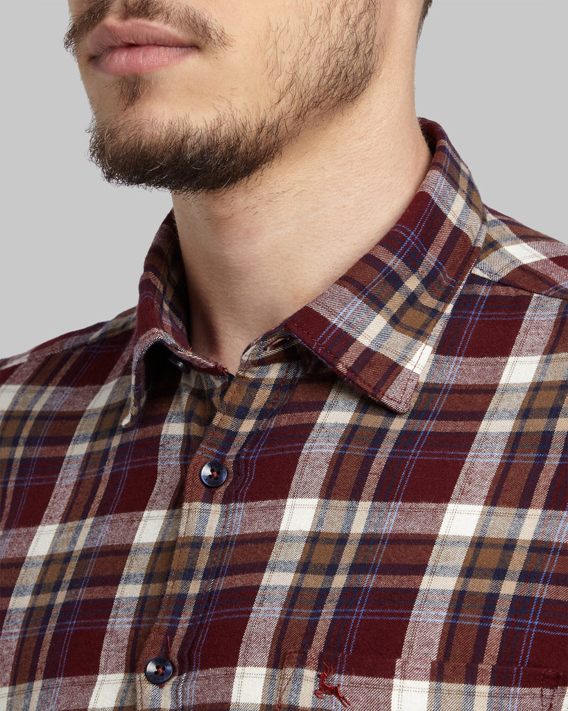 Parx Dark Red Slim Fit Shirt