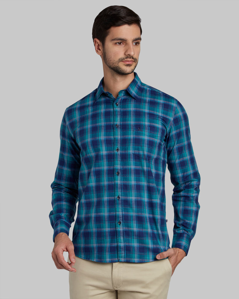 Parx Medium Green Slim Fit Shirt