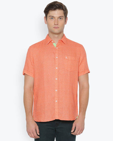 Parx Medium Orange Slim Fit Shirt
