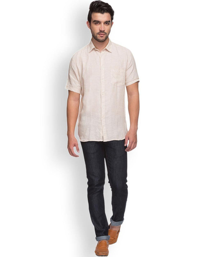 Parx  Beige Slim Fit Shirt