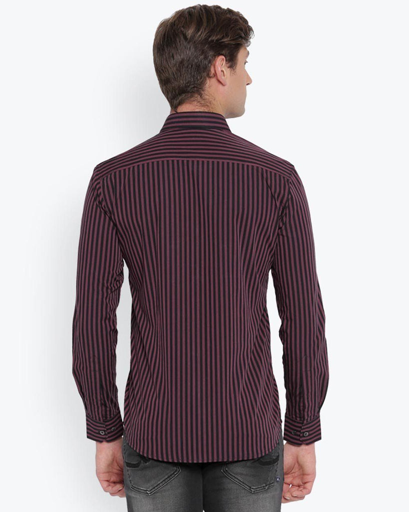 Parx Dark Maroon Slim Fit Shirt