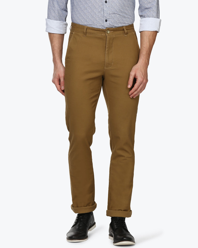 Parx Khaki Slim Fit Trouser
