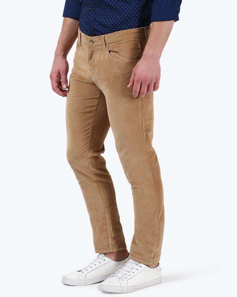 Parx Brown Low Rise Tapered Fit Trouser