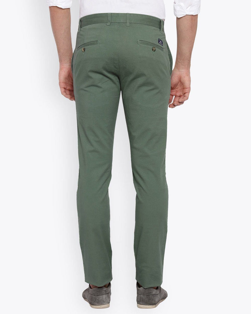 Parx Dark Green Tapered Fit Trouser