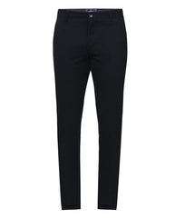Parx Dark Blue Low Rise Tapered Fit Trouser