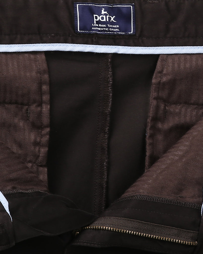 Parx Dark Brown Low Rise Tapered Fit Trouser