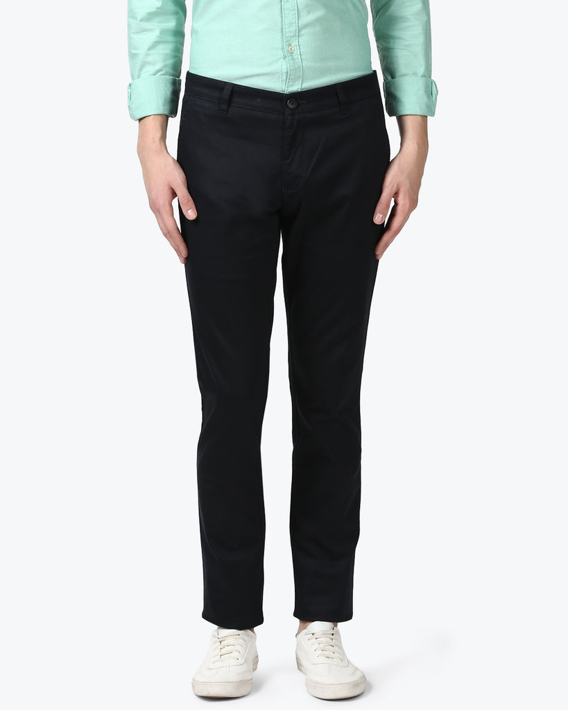 Parx Blue Slim Fit Trouser