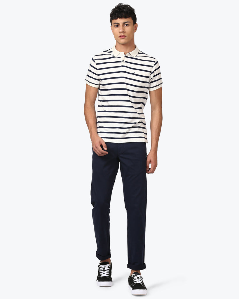 Parx Dark Blue Tapered Fit Trouser