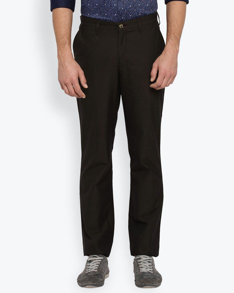 Parx Dark Brown Regular Fit Trouser