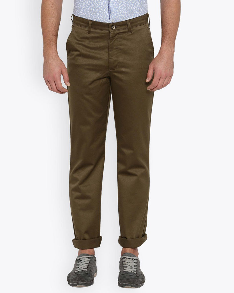 Parx Medium Brown Regular Fit Trouser