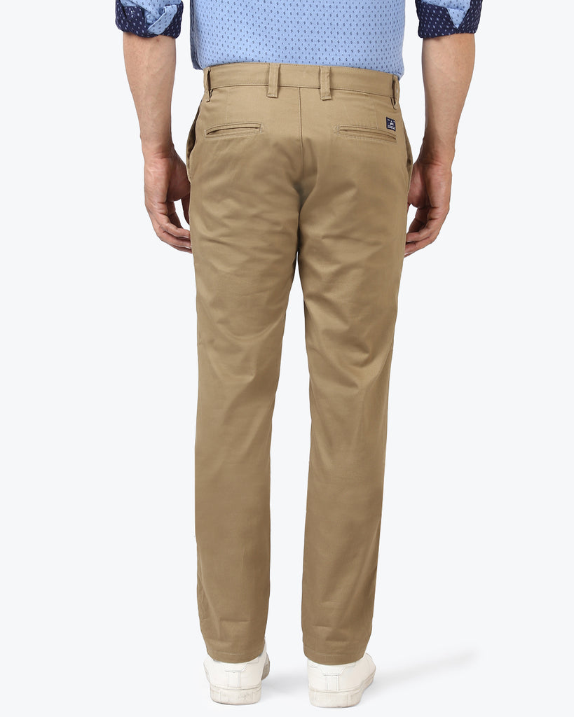 Parx Khaki Super Slim Fit Trouser