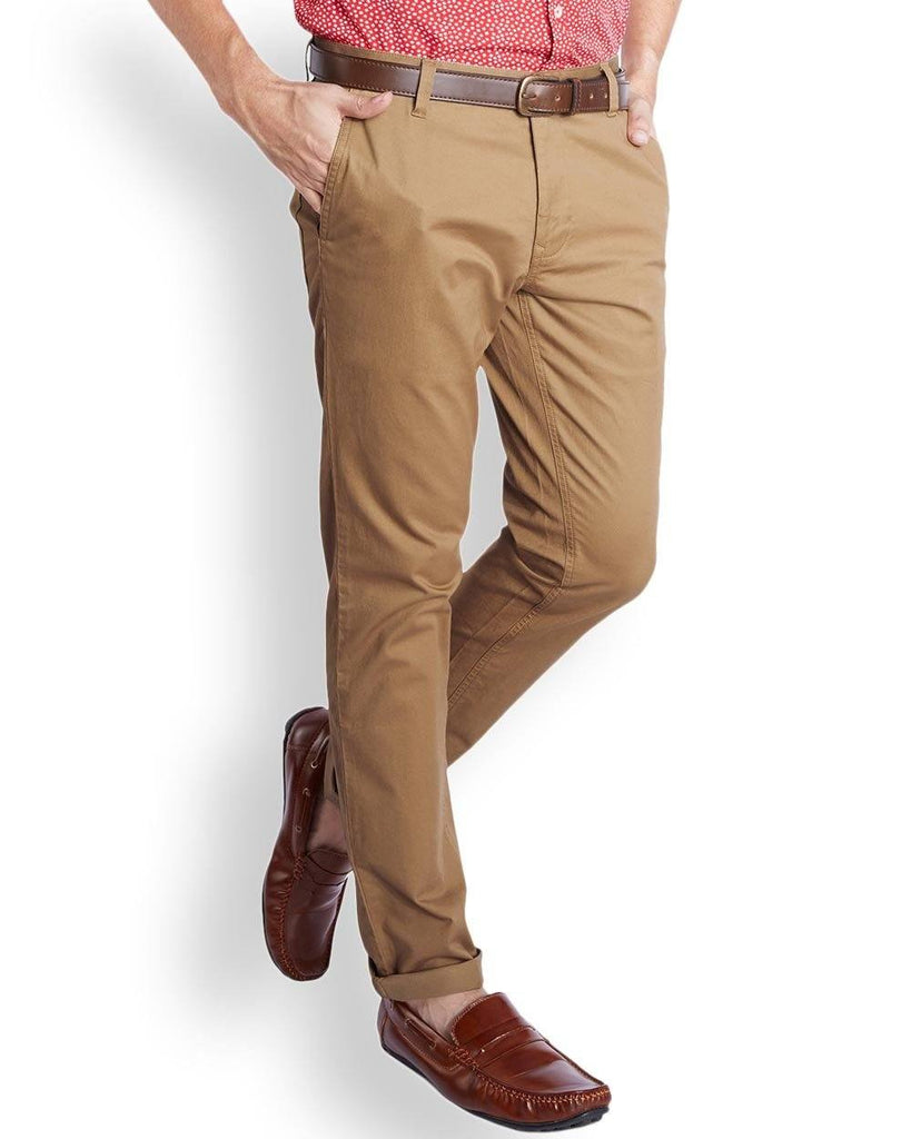 Parx  Beige Slim Tapered Fit Trouser