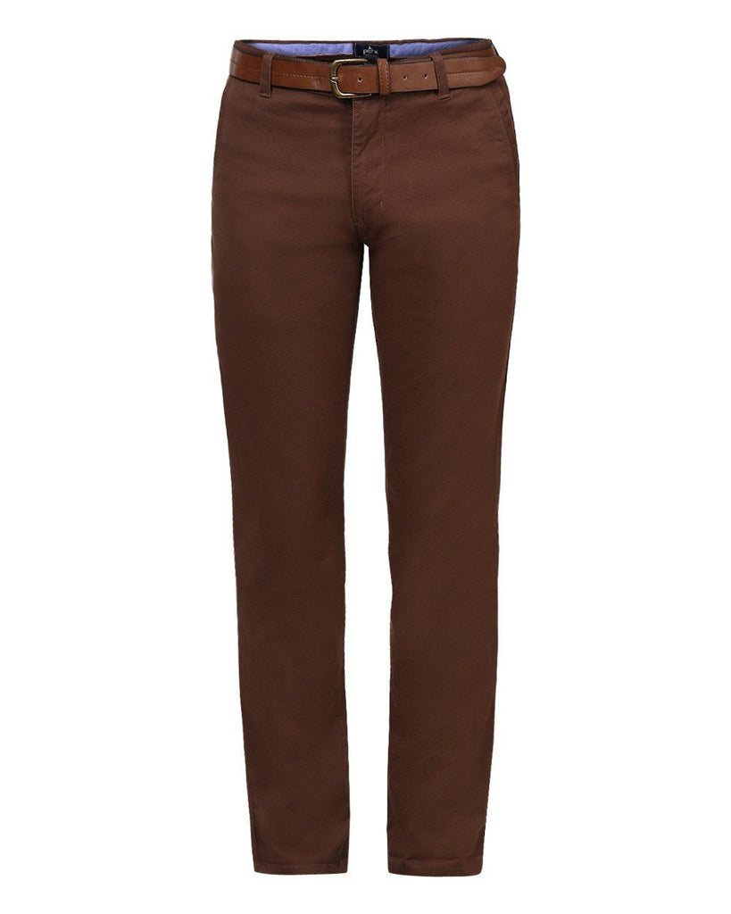 Parx Dark Brown Slim Tapered Fit Trousers