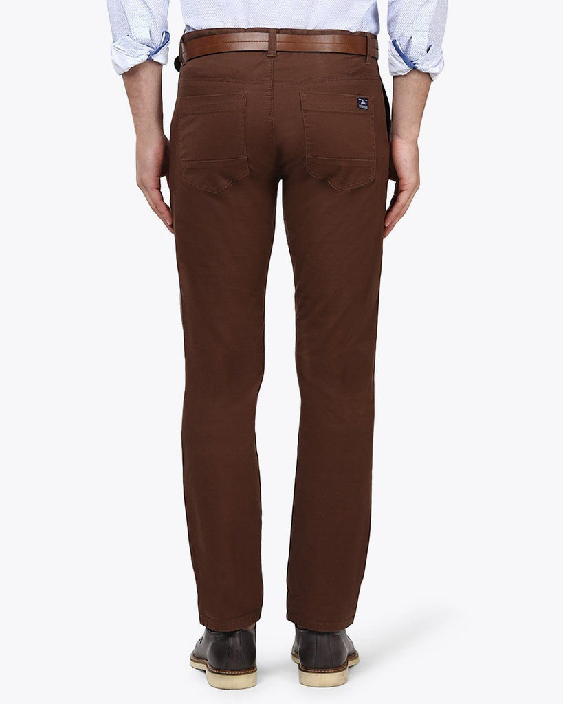Parx Dark Brown Slim Tapered Fit Trouser
