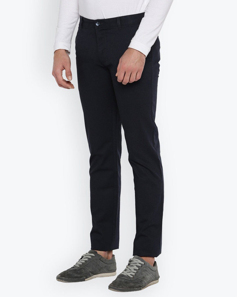 Parx Dark Blue Slim Tapered Fit Trouser