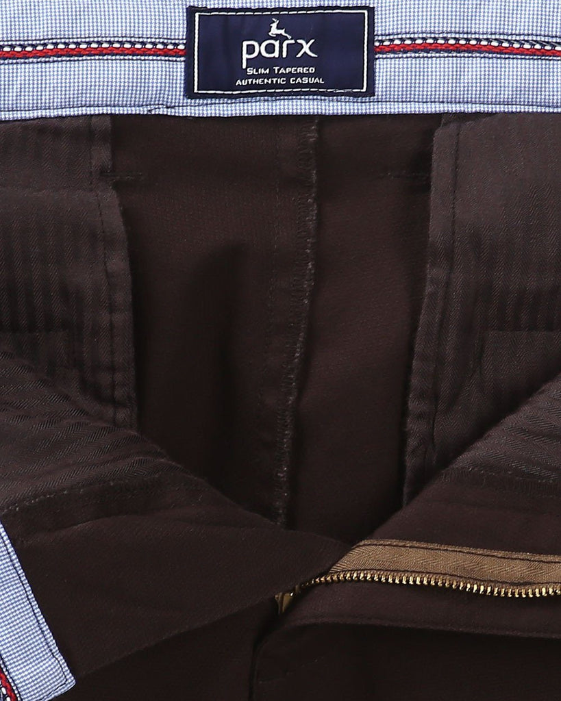 Parx Brown Slim Tapered Fit Trouser