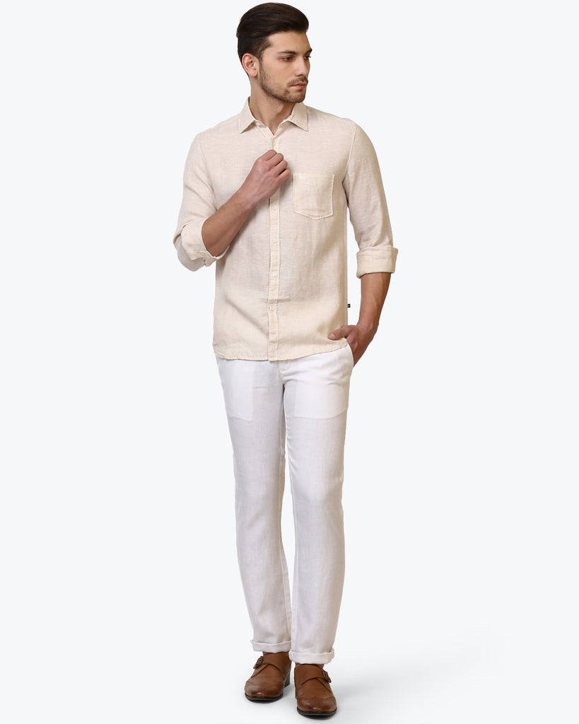 Parx White Slim Tapered Fit Trouser
