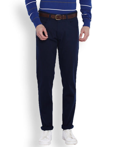 Parx Blue Low Rise Tapered Fit Trouser