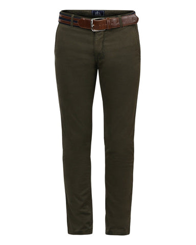Parx Dark Green Tapered Fit Trousers