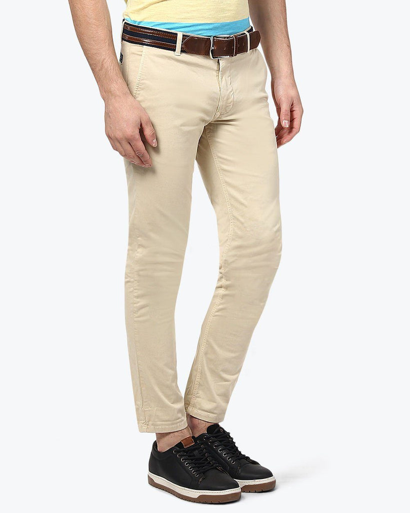 Parx Beige Tapered Fit Trouser