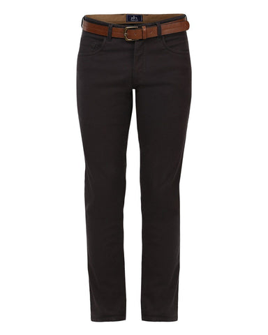 Parx Dark Brown Tapered Fit Trousers