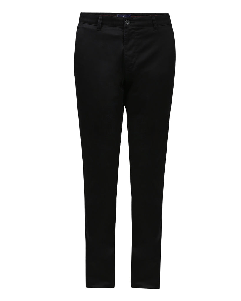 Parx Black Low Rise Tapered Fit Trouser