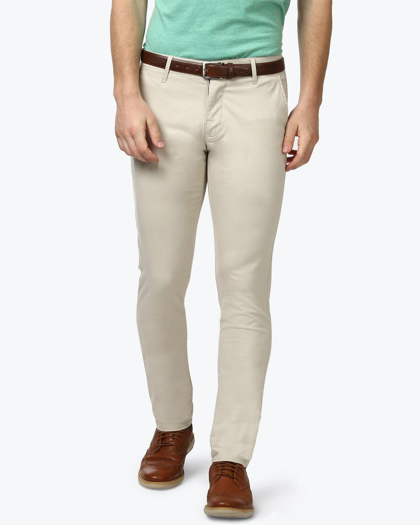 Parx Beige Low Rise Tapered Fit Trouser