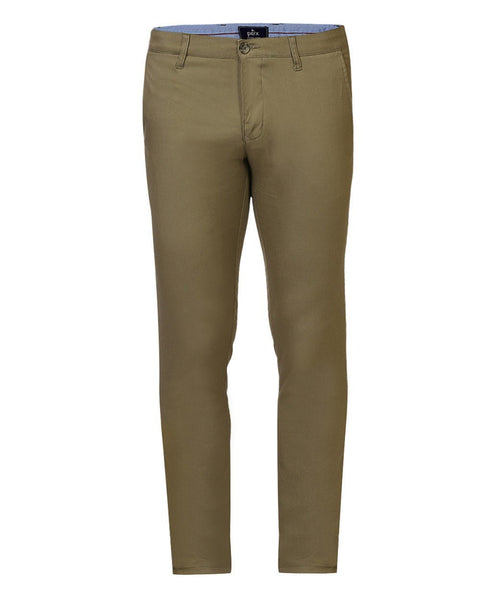 Parx Green Low Rise Tapered Fit Trouser