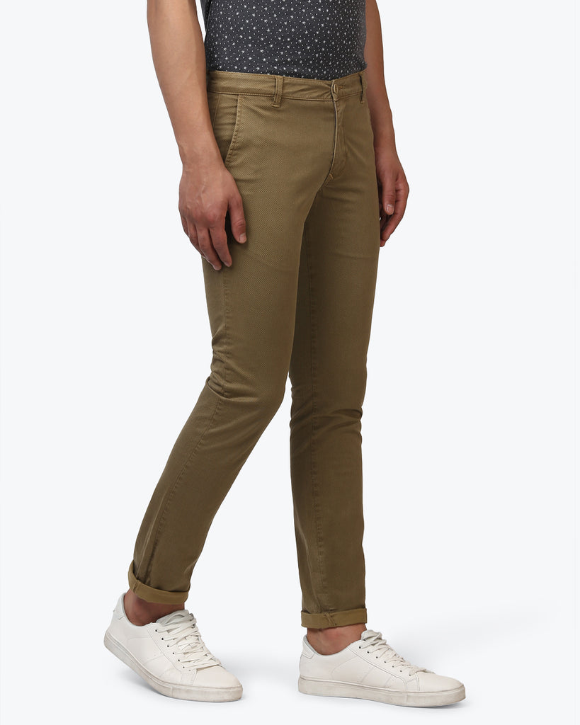Parx Dark Khaki Low Rise Tapered Fit Trouser