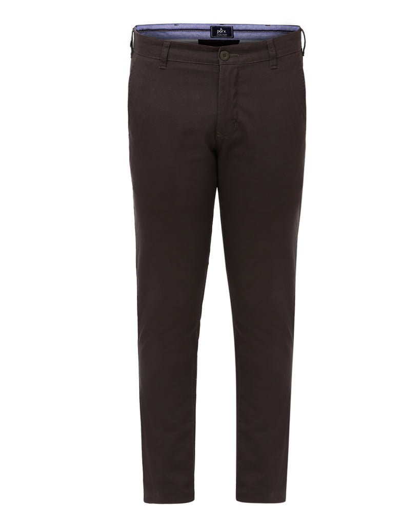 Parx Dark Green Low Rise Tapered Fit Trouser