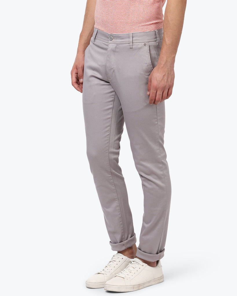 Parx Grey Low Rise Tapered Fit Trouser