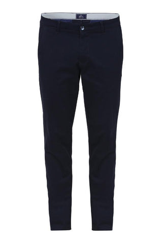 Parx Dark Blue Low Rise Tapered Fit Trousers
