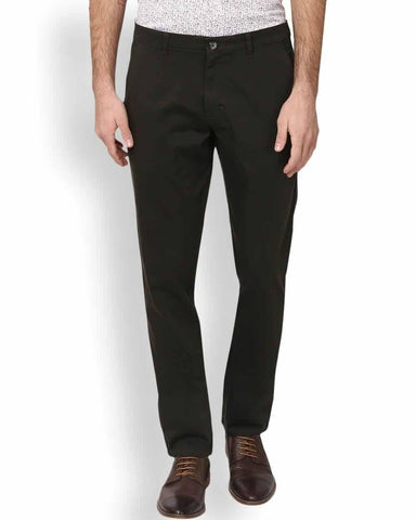 Parx Dark Green Low Rise Tapered Fit Trousers
