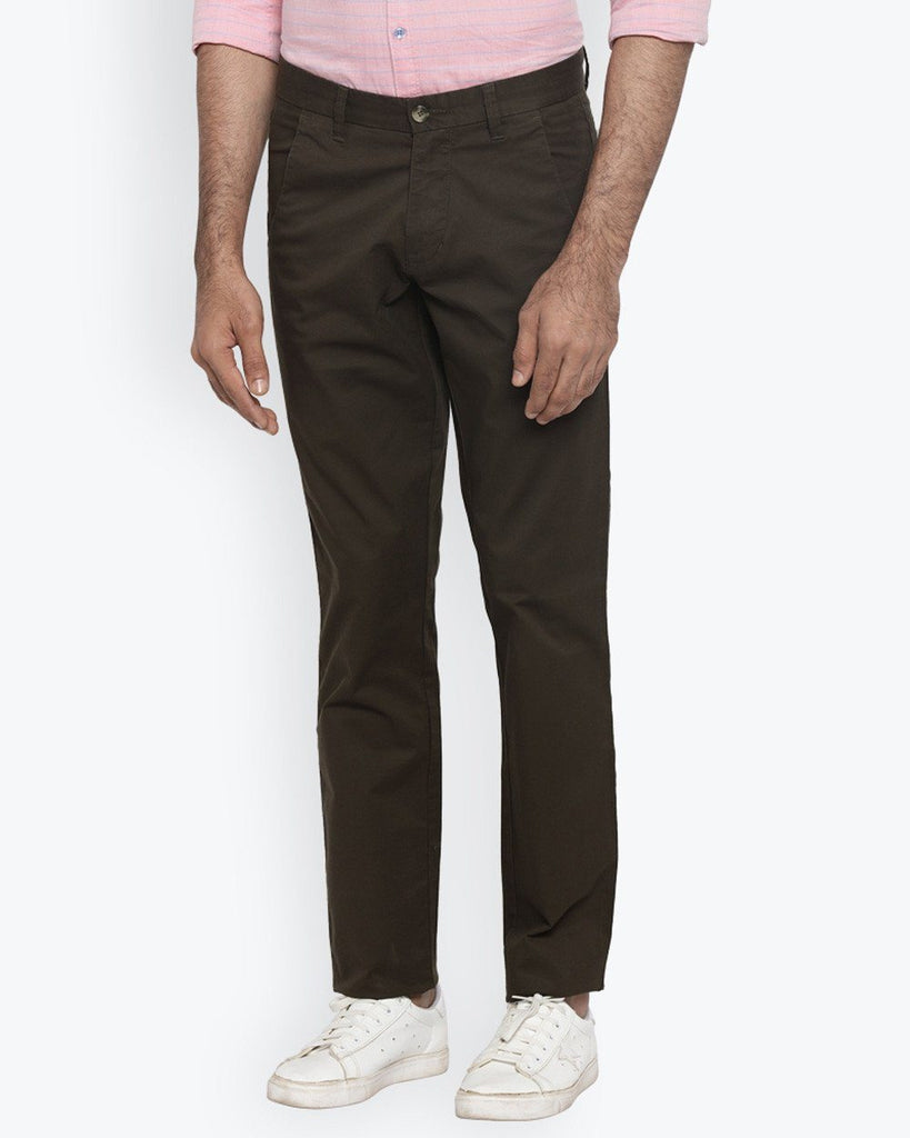 Parx Brown Tapered Fit Trouser