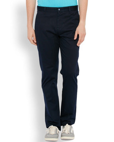 Parx  Dark Blue Regular Fit Trouser