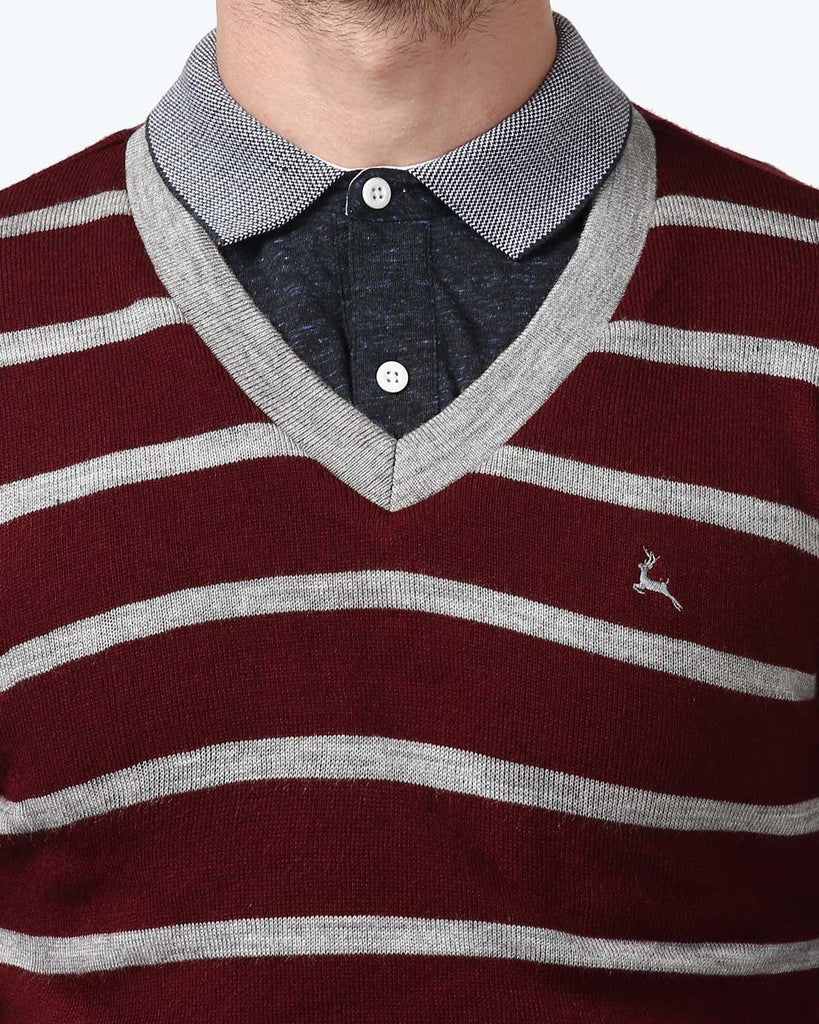 Parx Maroon Regular Fit Sweater