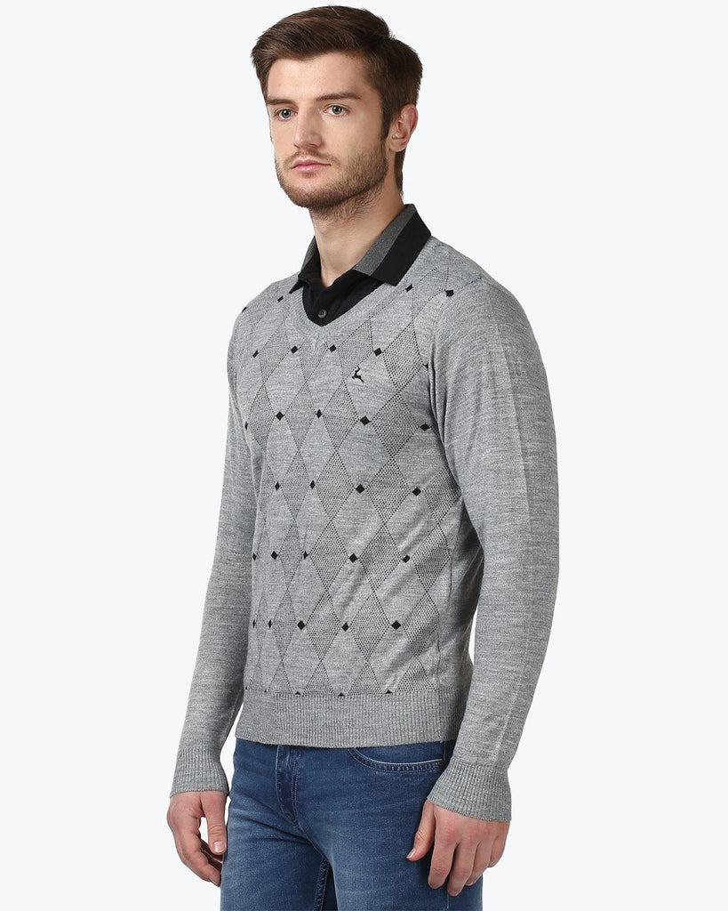 Parx Grey Regular Fit Sweater
