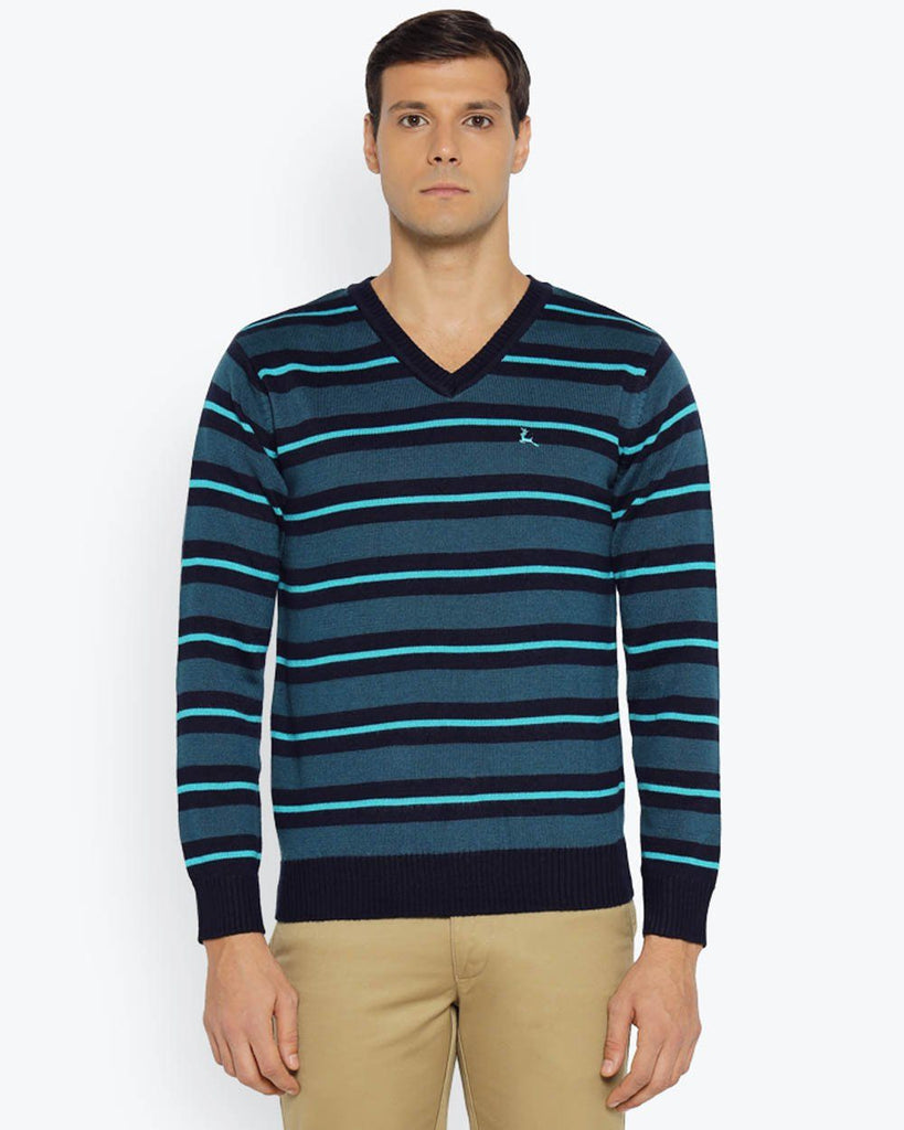 Parx Dark Blue Regular Fit Sweater