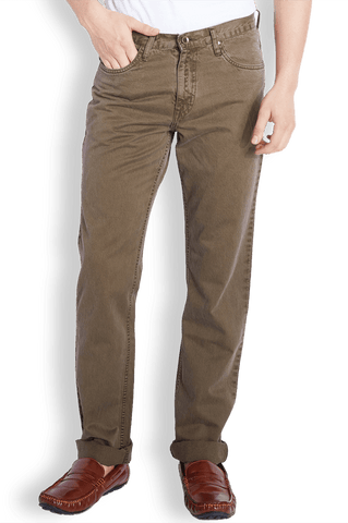 Parx Brown Regular Fit Jeans
