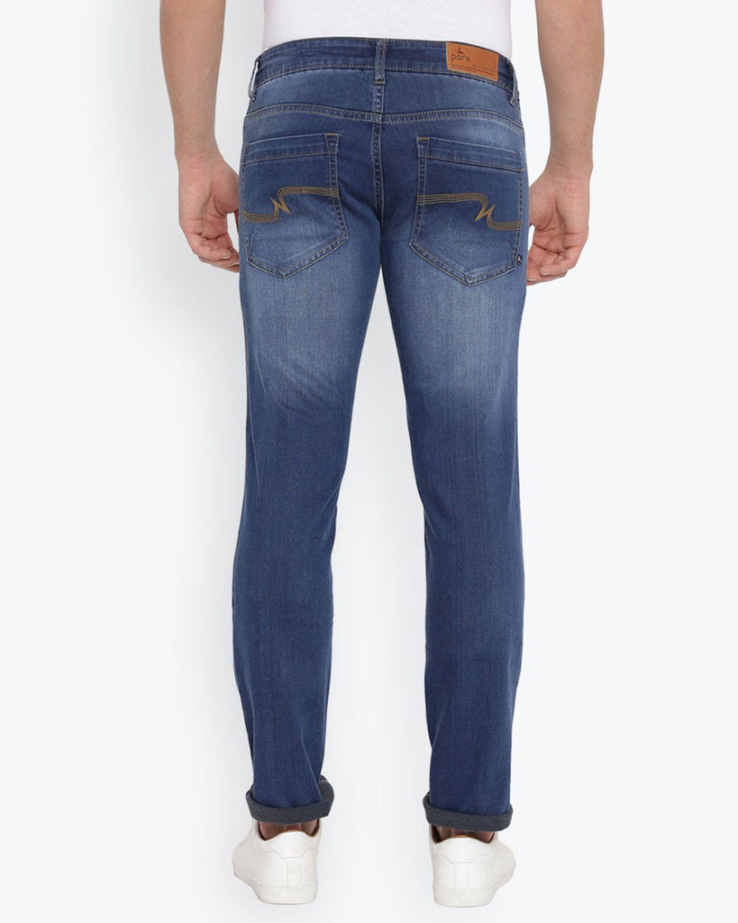 Parx Medium Blue Slim Tapered Fit Jeans